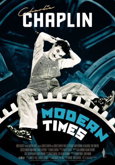 Modern Times (1936) Charlie Chaplin, movie poster, English
