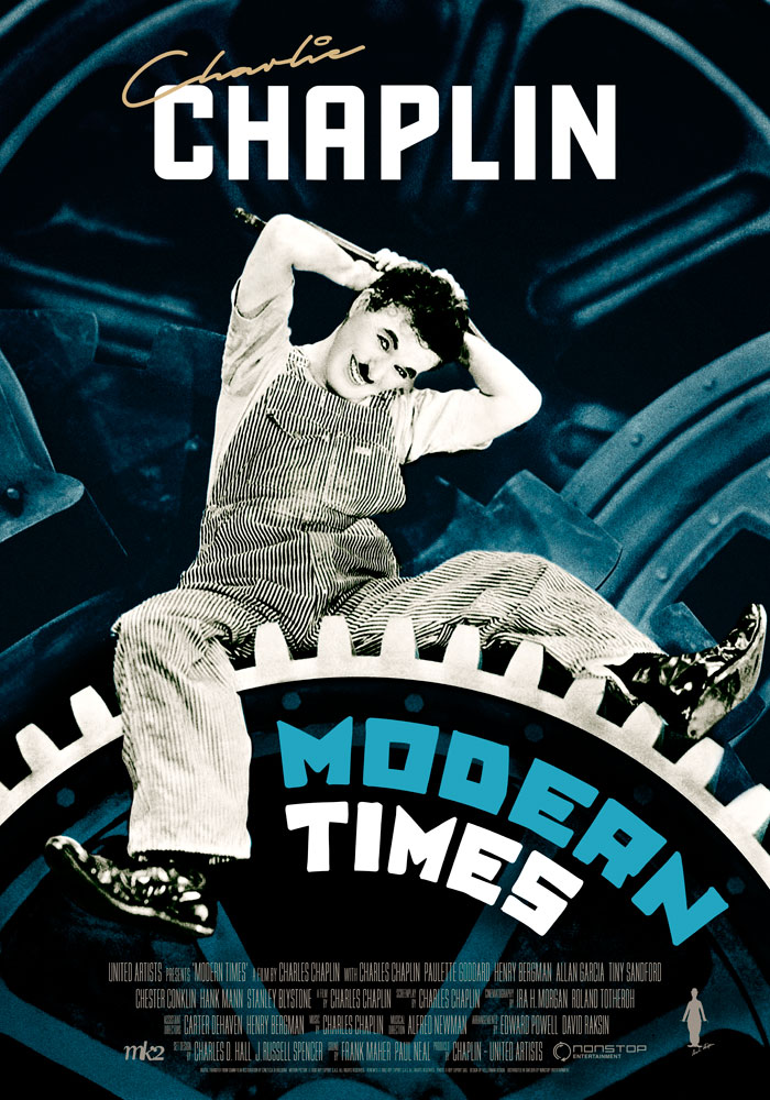 modern times 1936 movie poster kellerman design. Black Bedroom Furniture Sets. Home Design Ideas