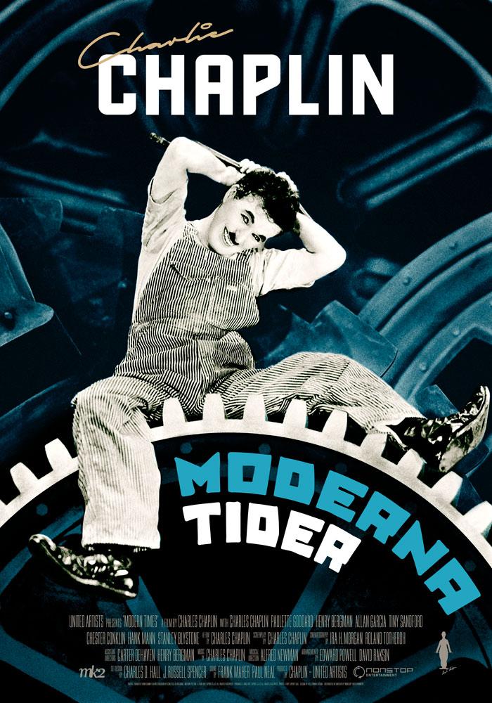 Modern Times (1936) Charlie Chaplin, movie poster, English