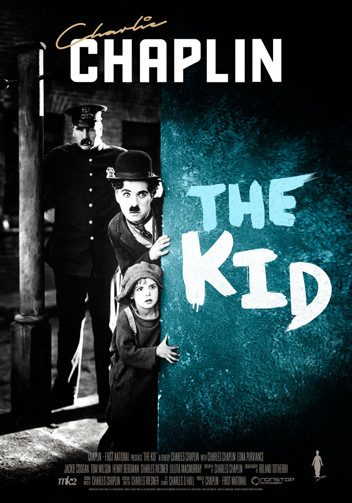 The Kid (1921) Charlie Chaplin, movie poster, English