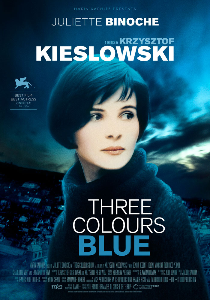 Three Colours Blue (1993) Krzysztof Kieslowski, movie poster, English