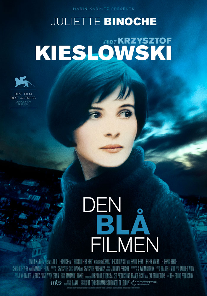 Three Colours Blue (1993) Krzysztof Kieslowski, movie poster, Swedish