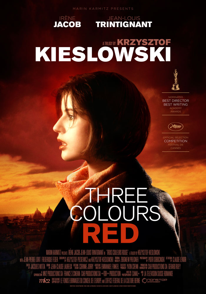 Three Colours Red (1994) Krzysztof Kieslowski, movie poster, English