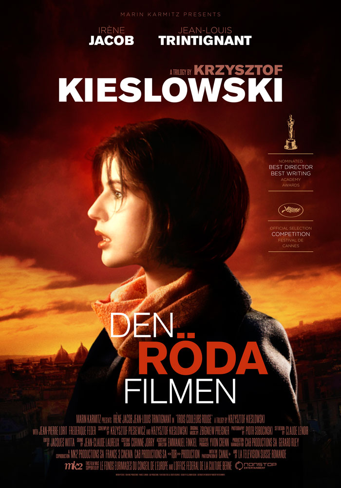 Three Colours Red (1994) Krzysztof Kieslowski, movie poster, Swedish